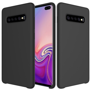 Liquid Silicone Protector Case for Samsung Galaxy S10 Plus - Black