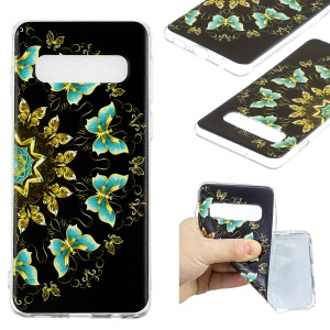 Pattern Printing Soft TPU Cell Phone Case for Samsung Galaxy S10 - Gold and Blue Butterflies