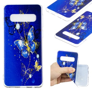 Pattern Printing Flexible TPU Case for Samsung Galaxy S10 - Blue Butterflies