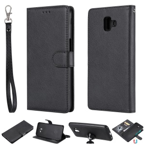 Magnetic Detachable 2-in-1 Wallet Leather Stand Phone Case for Samsung Galaxy J6+ - Black