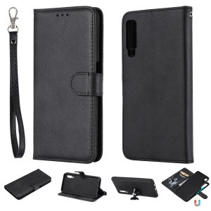 Magnetic Detachable 2-in-1 Wallet Leather Stand Case for Samsung Galaxy A7 (2018) - Black