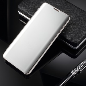Electroplating Mirror Surface View Window Leather Stand Cover for Samsung Galaxy S10 Plus - Silver