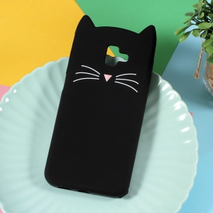 3D Moustache Cat Silicone Cell Phone Case for Samsung Galaxy J6 Plus - Black
