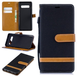 Two-tone Jean Cloth PU Leather Flip Case for Samsung Galaxy S10 Plus - Black
