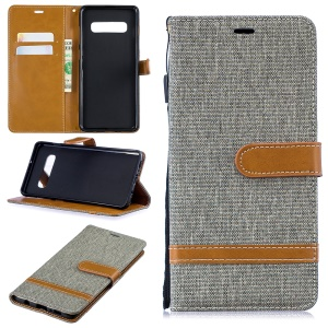 Two-tone Jean Cloth PU Leather Flip Cover for Samsung Galaxy S10 Plus - Grey