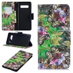 Pattern Printing PU Leather Mobile Phone Cover for Samsung Galaxy S10 Plus - Butterfly and Flower