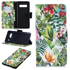Pattern Printing PU Leather Flip Case for Samsung Galaxy S10 Plus - Flower and Leaf