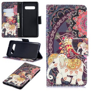 Pattern Printing PU Leather Folio Flip Mobile Phone Cover for Samsung Galaxy S10 Plus - Elephant and Peacock