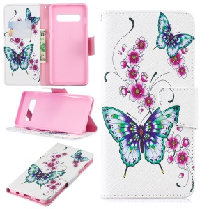 Pattern Printing PU Leather Magnetic Wallet Stand Cover for Samsung Galaxy S10 Plus - Butterfly and Flower