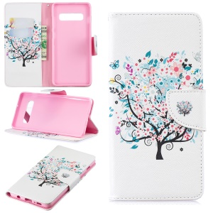 Pattern Printing PU Leather Flip Cover for Samsung Galaxy S10 Plus - Flowered Tree