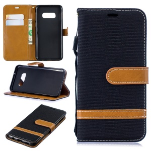 Two-tone Jean Cloth PU Leather Flip Case for Samsung Galaxy S10 Lite - Black