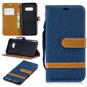 Two-tone Jean Cloth PU Leather Flip Protective Cover for Samsung Galaxy S10e - Dark Blue