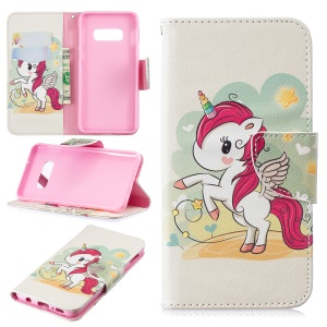 Pattern Printing PU Leather Mobile Shell with Card Slots for Samsung Galaxy S10 Lite - Unicorn