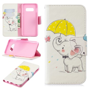 Pattern Printing PU Leather Protection Phone Cover Shell for Samsung Galaxy S10 Lite - Elephant Holding an Umbrella