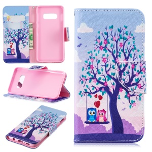 Pattern Printing PU Leather Flip Cell Phone Cover for Samsung Galaxy S10 Lite - Two Swinging Owls