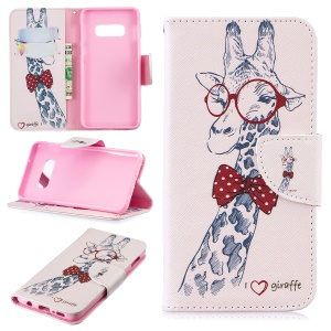 For Samsung Galaxy S10e Pattern Printing PU Leather Magnetic Stand Case - Giraffe Wearing Glasses