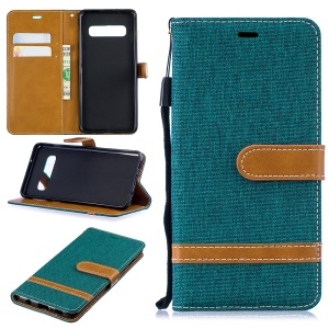 Two-tone Jean Cloth PU Leather Flip Mobile Phone Case for Samsung Galaxy S10 - Green