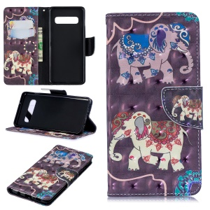 For Samsung Galaxy S10 Pattern Printing PU Leather Wallet Stand Cover - Elephant