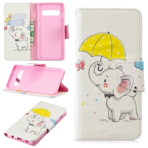 Pattern Printing Leather Wallet Case for Samsung Galaxy S10 - Elephant Holding an Umbrella