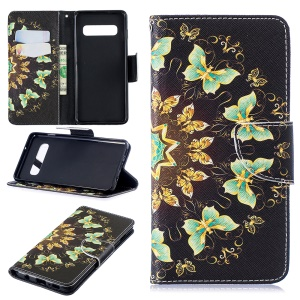 Pattern Printing Leather Wallet Case Cover for Samsung Galaxy S10 - Colorized Butterfly