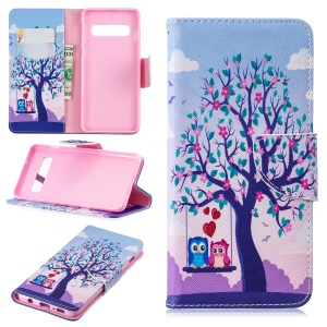 Pattern Printing Wallet Leather Stand Case for Samsung Galaxy S10 - Tree and Owls