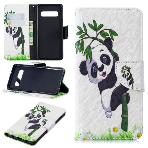 Pattern Printing Cell Phone Leather Stand Case for Samsung Galaxy S10 - Panda