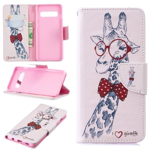 Pattern Printing PU Leather Protection Cell Phone Case for Samsung Galaxy S10 - Giraffe Wearing Glasses