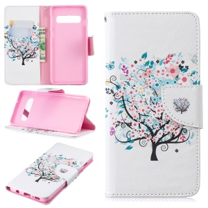 Pattern Printing PU Leather Protection Cell Phone Shell for Samsung Galaxy S10 - Flowered Tree