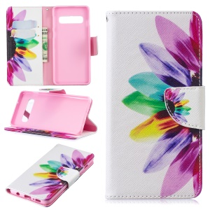 Pattern Printing PU Leather Protection Cell Phone Casing for Samsung Galaxy S10 - Petals Pattern