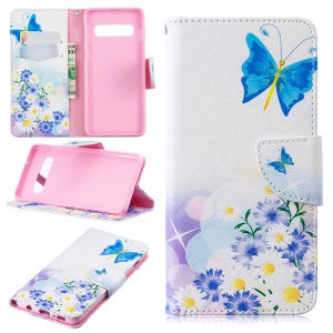 Pattern Printing PU Leather Protection Mobile Phone Case for Samsung Galaxy S10 - Blue Butterflies