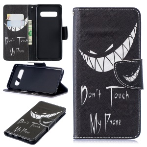 Pattern Printing PU Leather Protective Shell for Samsung Galaxy S10 - Angry Face