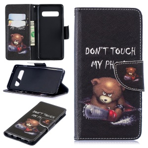 Pattern Printing Stand PU Leather Flip Cover for Samsung Galaxy S10 - Bear and Warnings