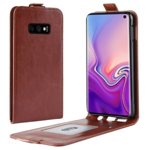 Crazy Horse Vertical Flip Leather Card Holder Mobile Shell for Samsung Galaxy S10e - Brown