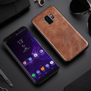 X-LEVEL Vintage Style PU Leather Coated TPU Shell for Samsung Galaxy S9 SM-G960 - Brown
