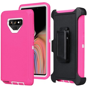 For Samsung Galaxy Note9 N960 Heavy Duty PC + TPU Hybrid Case with [Belt Clip Kickstand] - Rose / White