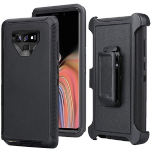 For Samsung Galaxy Note9 N960 Heavy Duty PC + TPU Hybrid Cover with [Belt Clip Kickstand] - All Black