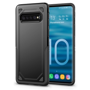 Hybrid PC + TPU Armor Rugged Cover for Samsung Galaxy S10 Plus - Black