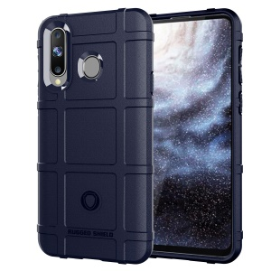 Rugged Square Grid Texture Soft TPU Anti-shock Casing for Samsung Galaxy A8s - Blue
