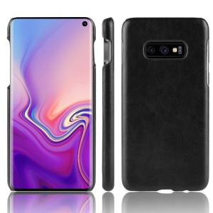 Litchi Texture PU Leather Coated Hard PC Back Case for Samsung Galaxy S10 Lite - Black