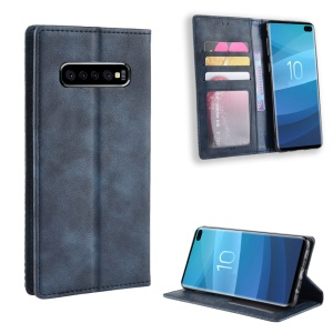 Vintage Style Wallet Leather Stand Cover for Samsung Galaxy S10 Plus - Blue