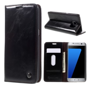 CASEME Oil Wax Leather Wallet Case for Samsung Galaxy S7 Edge G935 - Black