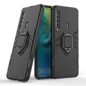Cool Guard Ring Holder Kickstand PC TPU Hybrid Case for Samsung Galaxy A9 (2018) / A9 Star Pro / A9s - Black