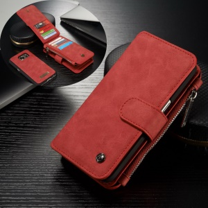 CASEME 2-in-1 Split Leather Multi-slot Wallet Shell for Samsung Galaxy S7 G930 - Red