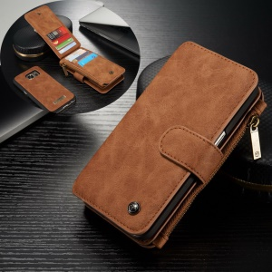 CASEME 2-dentro-1 Split Leather Multi-Capa Wallet para Samsung Galaxy S7 G930 - Castanho