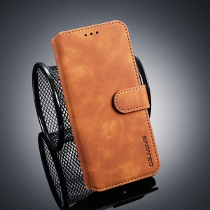 DG.MING Retro Style PU Leather Flip Wallet Stand Phone Case for Samsung Galaxy J6 (2018) - Brown