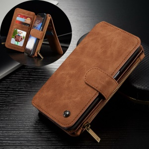 CASEME 14 Slots Wallet Detachable 2-in-1 Split Leather Case for Samsung Galaxy S7 edge G935 - Brown