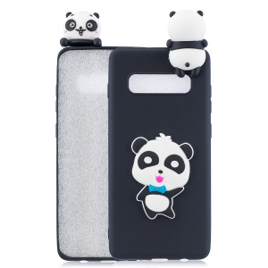 3D Pattern TPU Phone Case for Samsung Galaxy S10 - Panda with Blue Bowknot