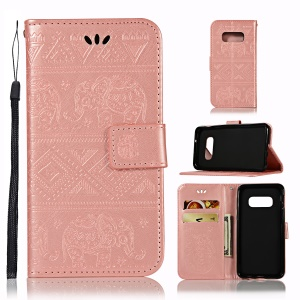 Imprinted Elephant Leather Stand Cover for Samsung Galaxy S10 Lite - Rose Gold