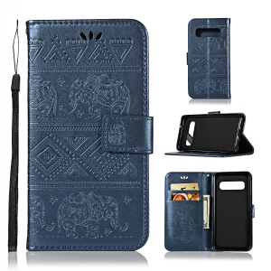 Imprint Elephant Leather Wallet Case Cover for Samsung Galaxy S10 - Dark Blue