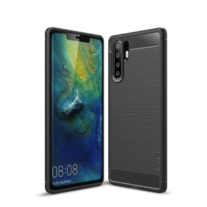 IPAKY Carbon Fiber Texture Brushed TPU Phone Case for Huawei P30 Pro - Black